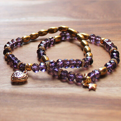 Pair of Delicate Purple Crystal Elastic Bracelets with Gold Heart Charm