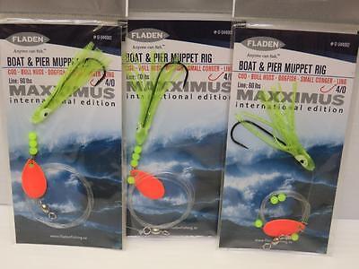 5 fladen Maxximus lumi bateau et pier muppet rig cod bull huss ling pêche maritime