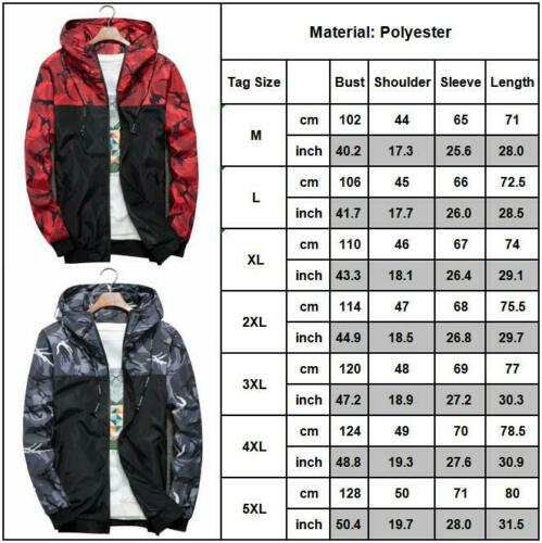 Grande taille Hommes Camouflage à Capuche Zipper Veste Manteau Coupe-vent camouflage Tops Outwear