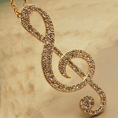 Women's Fashion Charm Swarovski Rhinestone Musical Note Pendant Sweater Necklace