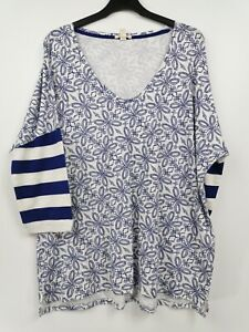 Esprit-Damas-Top-3-4-manga-blanca-y-azul-mezcla-Talla-XL