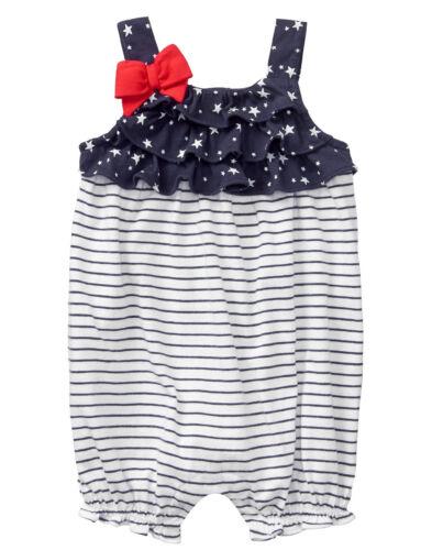 NWT Gymboree Americana Shop Stars Stripes July 4 Patriotic Romper 1PC Baby Girl