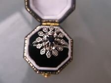 Vintage Women's 18ct White Gold Diamond & Sapphire Ring Size L 1/2 Weight 4.2g