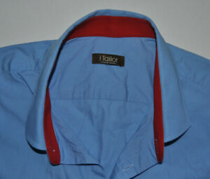 Details about iTailor bespoke tailor made blue shirt large unsized with  double cuff