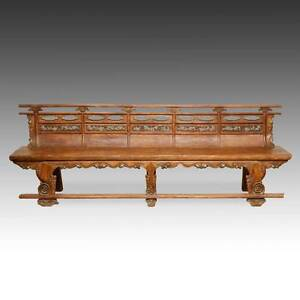 Image Is Loading RARE ANTIQUE BUDDHIST TEMPLE BENCH ELM WOOD CHINESE