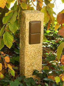 Doppelte-Aussensteckdose-Gartensteckdose-aus-gelbem-Granit-Strom-Garten