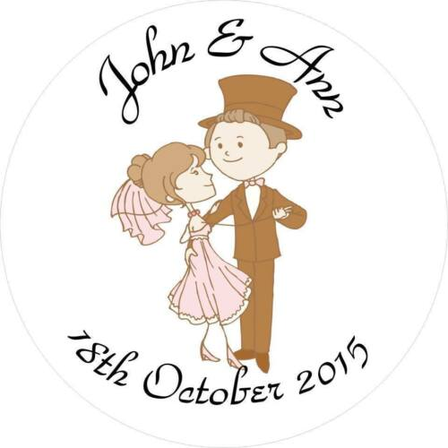 Wedding Anniversary etc  Vintage couple Dancing Personalised 105 35mm stickers