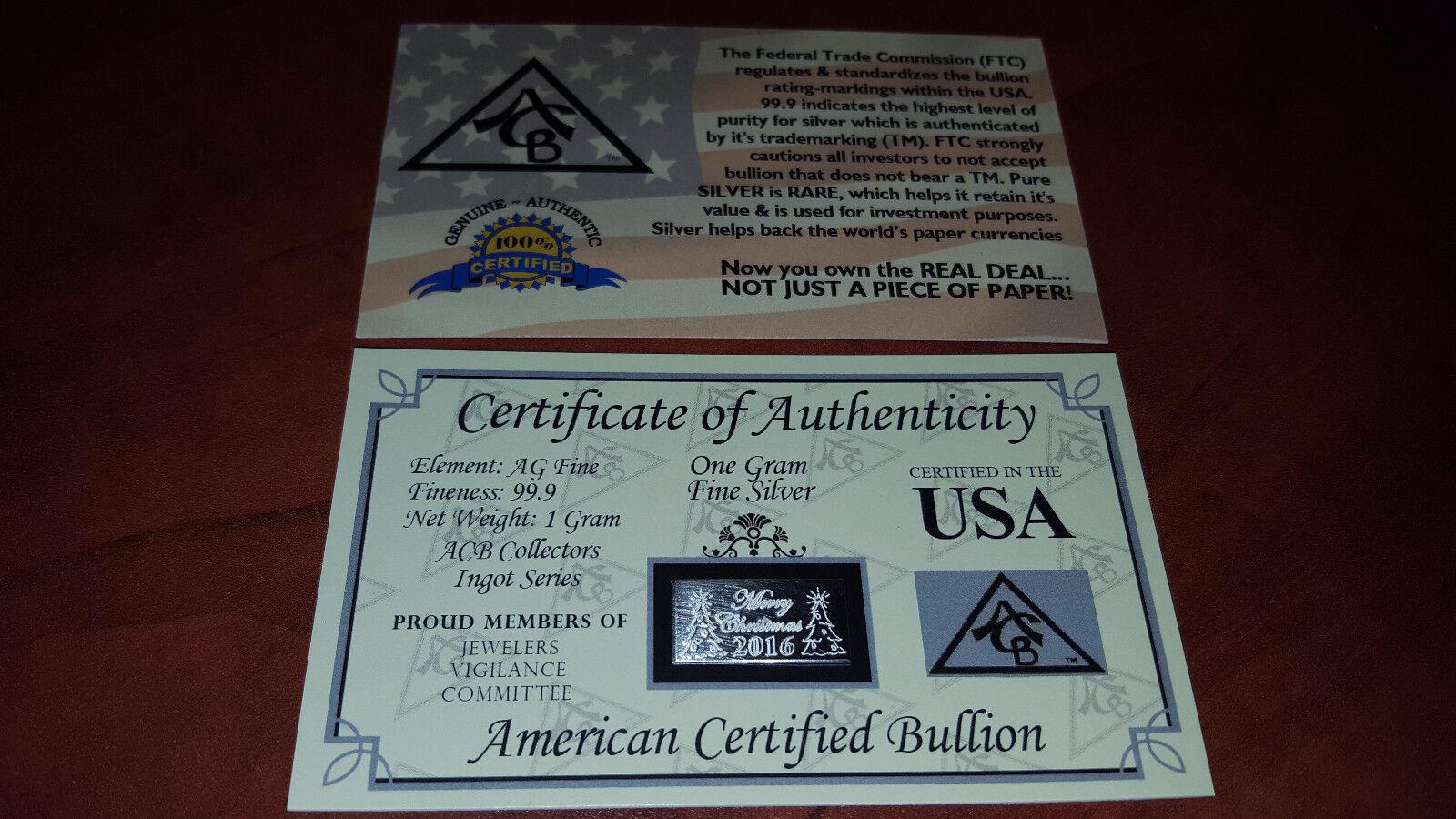 Merry Christmas 2018 x5 .999 Fine Silver 1Gram ACB Bullion Bar W//CERTIFICATE=