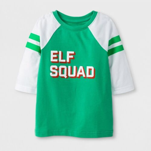 Cat /& Jack Toddler 3//4 Sleeve /'Elf Squad/' T-Shirt NWT Green 2T