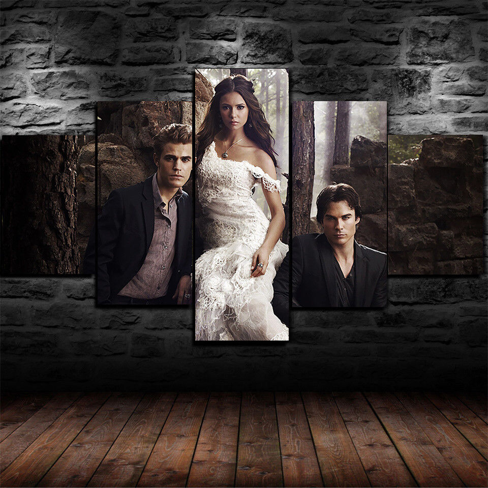 Framed The Vampire Diaries 5 Piece Canvas Print Wall Art Home Decor