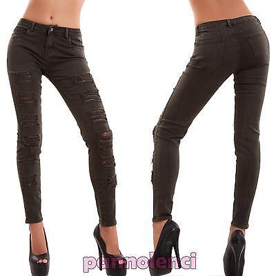Jeans donna skinny elasticizzati aderenti strappi pizzo sigaretta nuovi B128