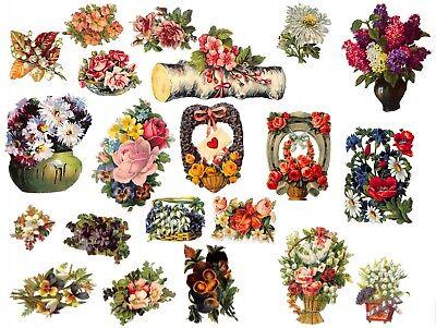 Lot Mit 31x Antike Oblate Büro, Papier & Schreiben Vor 1960 Blumen Blüten #h698 Gut FüR Antipyretika Und Hals-Schnuller