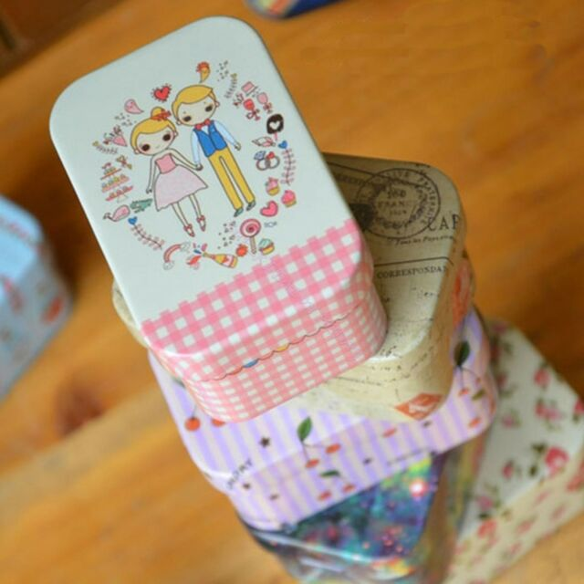 Rectangular Small Tea Storage Tin Box Tinplate Candy Trinket Iron Jewelry Case