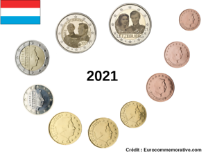 Série 8 pièces Euros Luxembourg 2021 + 2 Commémoratives Version Photo