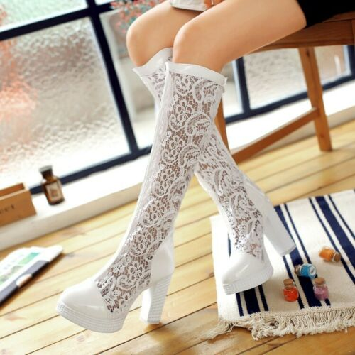 Womens Knee High Summer Sandals Boots Lace Floral High Heels Shoes Platform Size