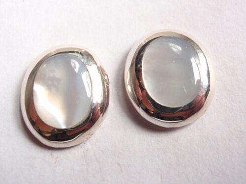 Mother of Pearl Oval 925 Sterling Silver Stud Earrings Corona Sun Jewelry