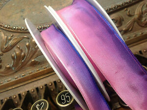 VINTAGE-FRENCH-RIBBON-wire-PINK-PURPLE-5-8-034-or-7-8-034-OMBRE-1yd-Made-in-France