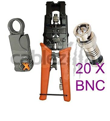 Kit Universal Coax Connector Compression Crimp tool BNC RCA F RG59 RG6 Stripper