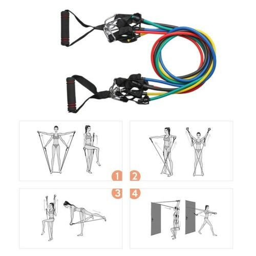 11pcs//set Pull Rope Exercise Resistance Bands Gym Home Equipment Workout Fitness