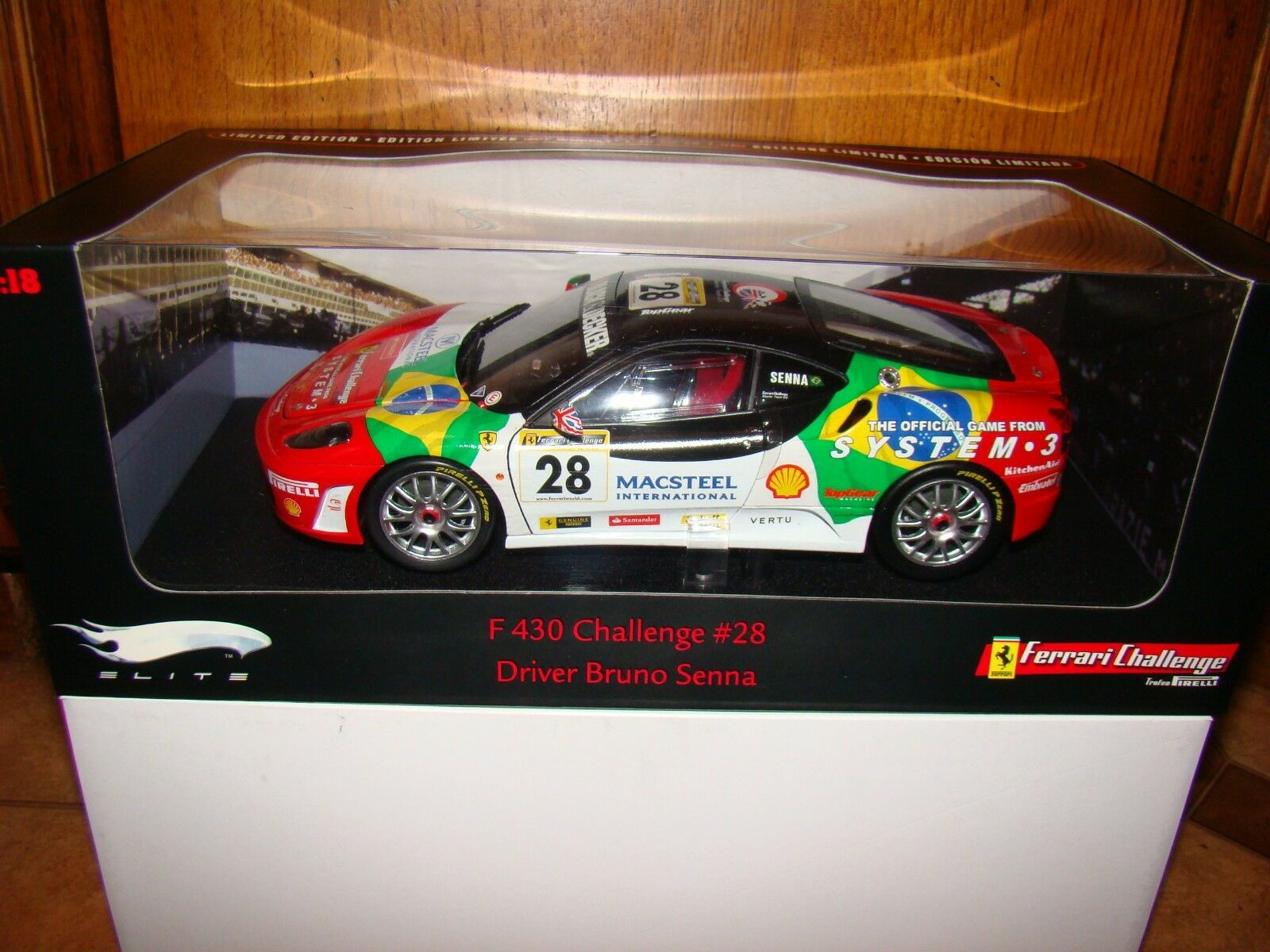 Ferrari f430 challenge senna elite  rouge motor no28 1 18 EME limited rare  envoi gratuit dans le monde entier