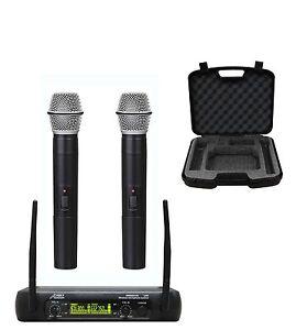 Audio2000-039-s-6074U-UHF-2-Channel-Karaoke-Wireless-Microphone-System-w-Carry-Case