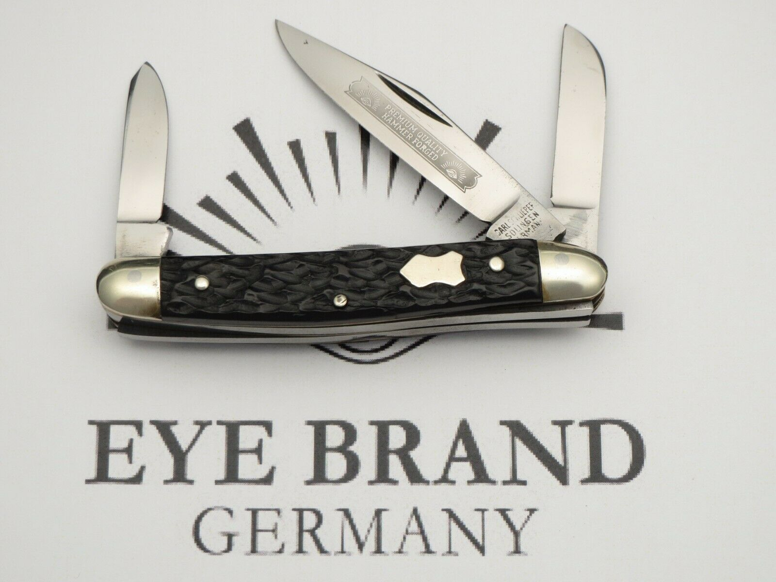 Vintage EYE BRAND Three-Eye Junior Premium Stock Knife Nice Bone Near Mint