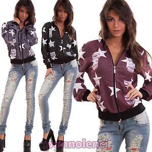 Felpa-donna-giacca-zip-stelle-sportiva-elastico-maniche-lunghe-nuova-AS-2317