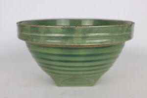 Antique Vintage McCoy Pottery Kitchen Green Glaze Yellow Ware Mixing Bowl 8 Mark