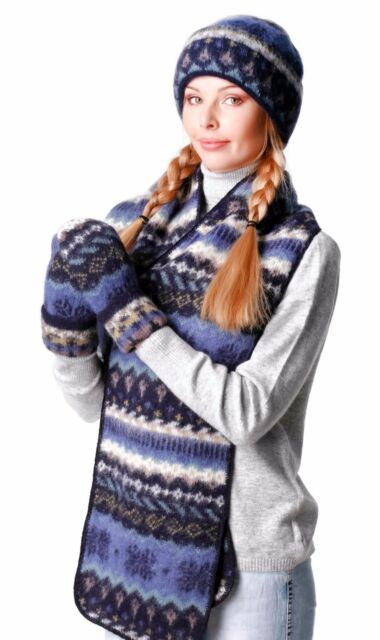 Pure 100% Icelandic Wool Set of Hat Cap Beanie Lined Mittens and Scarf For  Women 2f96214c6
