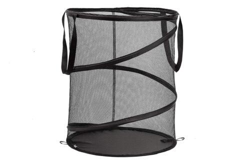 Laundry Hamper Mesh Basket  Pop Up Durable Wired Portable Folding Mesh Hamper