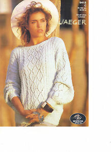 Jaeger Bermuda approx DK KNITTING PATTERN textured sweater with lace pane 5412c - <span itemprop=availableAtOrFrom>London, United Kingdom</span> - Jaeger Bermuda approx DK KNITTING PATTERN textured sweater with lace pane 5412c - London, United Kingdom