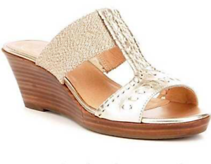 bd2e0cf4498 Jack Rogers Women s Nora Wedge Sandal - Platinum (Gold) NEW w o Box ...