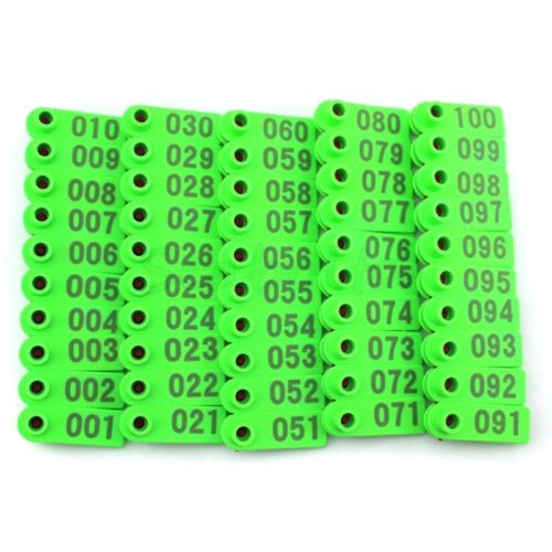 Green Plastic 001-100 Number Animal Livestock Ear Tag For Goat Sheep Pig