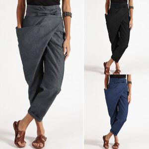 ZANZEA-Femme-Pantalon-Ceinture-Casual-Beach-Quotidien-Poche-Asymetrique-Plus