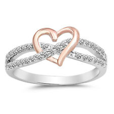 Sterling Silver Infinity Love Heart Clear CZ Rose Gold Promise Ring Size 5-12