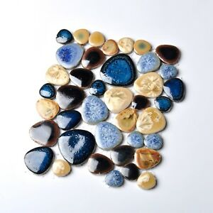 4x6 inch Sample-Porcelain Pebbles Blue Glazed Ceramic ...