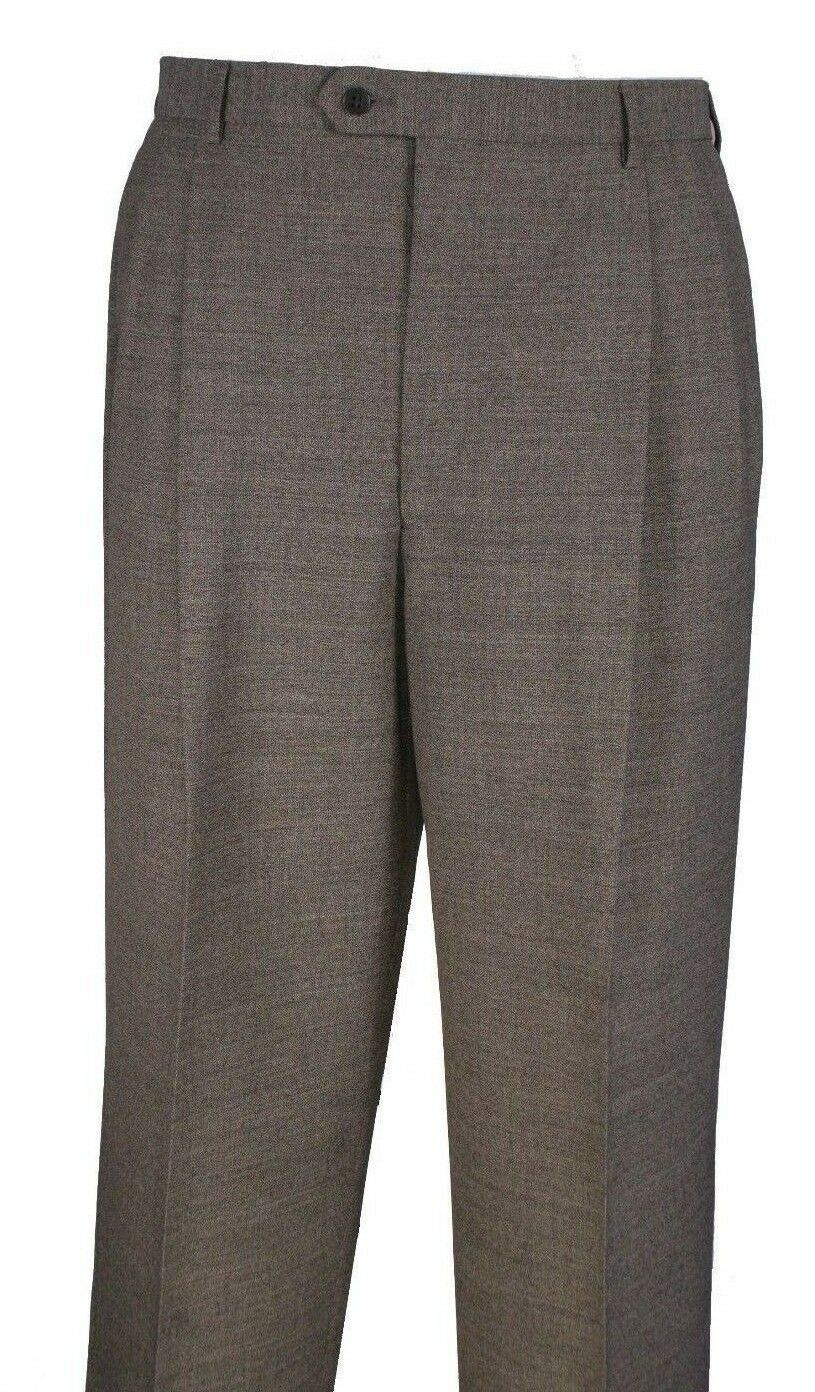 Men's Pants 2 Pleat 100% Wool Size.34 Taupe color art.SA409  Made In