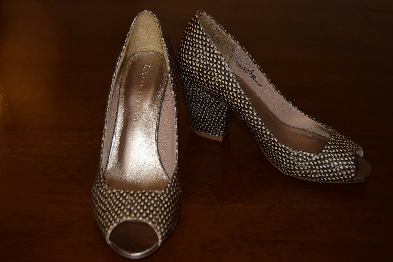 M&S Insolia shoes. Size 5. Peep Feather toe 3 1/2