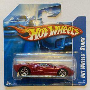 2007-HOTWHEELS-FORD-GT-GT-40-GT-40-STELLE-ROSSO-molto-RARO-Nuovo-di-zecca-MOC