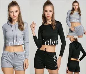 Women-New-Summer-2Pcs-Tracksuit-Sweatshirts-amp-Short-Pant-Casual-Jogging-Sport-Suit