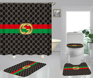 Shower Curtain Set Size 70 X70 100 Polyester Bathroom Decor 6ucci Black Strips Ebay