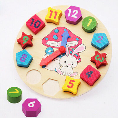 Promotion Wooden Clock 12 Number Colorful Puzzle Toy Educational Bricks for Baby