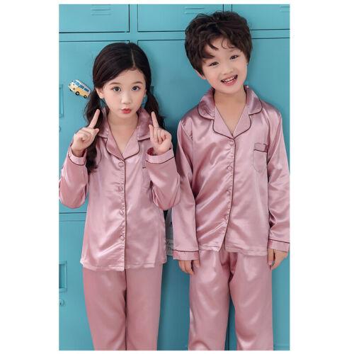 Girls Silk Satin Pajamas Pyjamas Kids Children Sleepwear Set Nightwear
