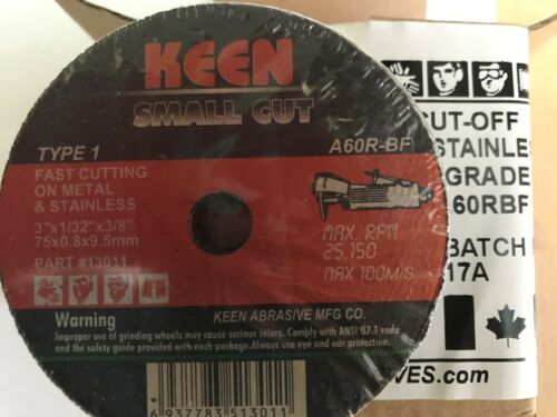 13018 Keen General Purpose Cut Off Wheel 3 inch x 1//32 inch x 3//8 in 50//Pack