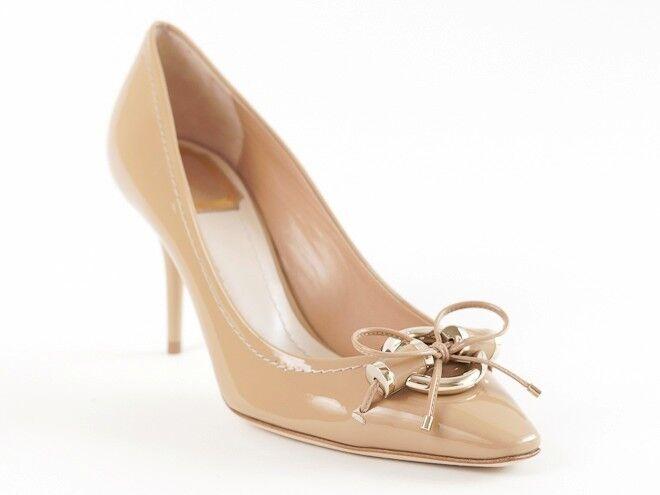 Nuevo de Christian Dior Twist Beige Charol Zapatos Twist Dior De Metal 39 EE. UU. 9 1ee133