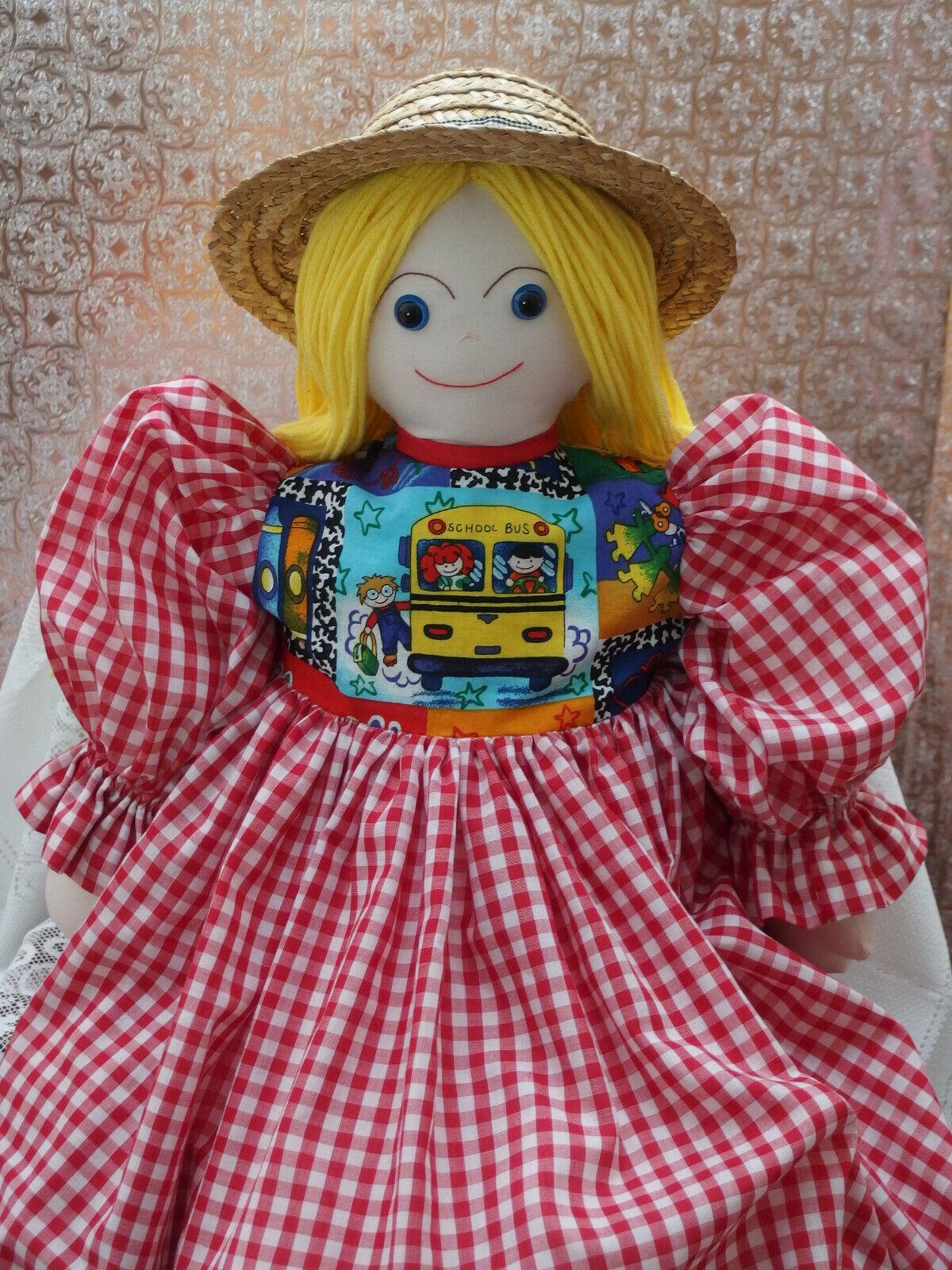 Hecho a mano 34  saludador saludador saludador Trapo Muñeca con vestido largo Sombrero de Paja X pre-escolar Decoraciones NUEVA  entrega de rayos