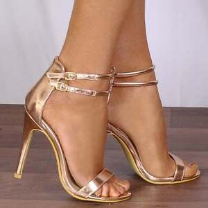 Details about ROSE GOLD METALLIC BARELY THERE STILETTOS STRAPPY SANDALS PEEP TOES HIGH HEELS