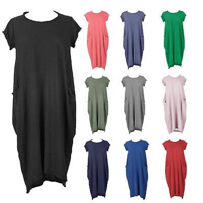 NEW Italian LAGENLOOK Balloon Dress BOHO Jersey Soft Stretch COTTON Pocket Tunic
