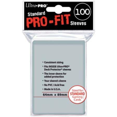 64mm x 89mm 100 Ultra Pro Standard Pro-Fit Sleeves Trading Cards Hüllen