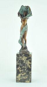 Estatua-Art-Deco-Estilo-Art-Nouveau-Estilo-Bronce-solido-Firmado